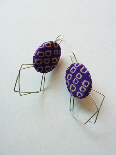 purple shibori earrings